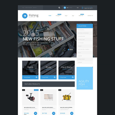 Fishing Supplies Shopify Theme (Shopify theme for sports stores) Item Picture
