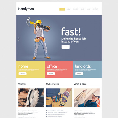 Handyman Services Joomla Template (Joomla template for construction companies) Item Picture
