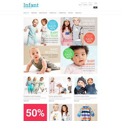 Infant Clothing Store PrestaShop Theme (PrestaShop theme for clothing for babies, kids, and children) Item Picture