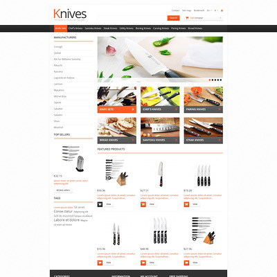 Knives for Easy Cooking PrestaShop Theme (PrestaShop theme for housewares and kitchen supplies) Item Picture