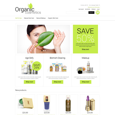 Organic Cosmetics Magento Theme (Magento theme for hair and beauty products) Item Picture