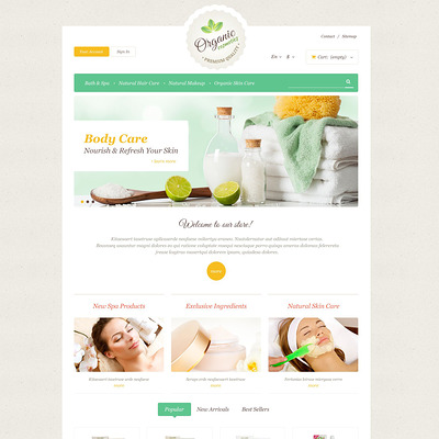 Organic Skin Care PrestaShop Theme (PrestaShop theme for makeup, cosmetics, perfume, and beauty products) Item Picture