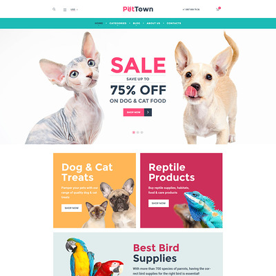 PetTown Pet Store WooCommerce Theme (WooCommerce theme for animals and pets) Item Picture
