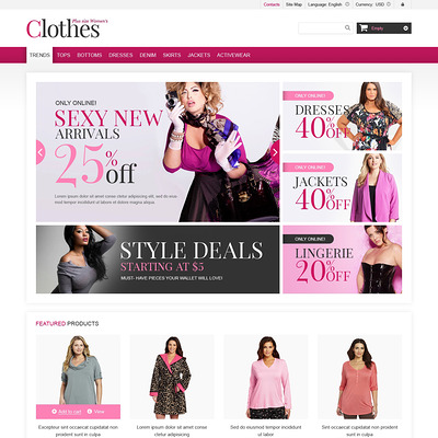 Plus Size Clothes Store PrestaShop Theme (PrestaShop theme for womens clothing) Item Picture