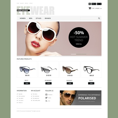 Responsive Eyewear Store PrestaShop Theme (PrestaShop theme for sunglasses and eyewear) Item Picture
