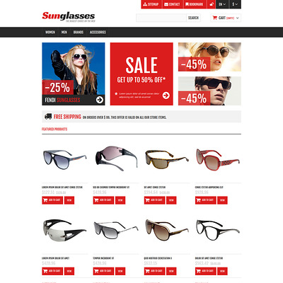 Responsive Sunglasses Store PrestaShop Theme (PrestaShop theme for sunglasses and eyewear) Item Picture