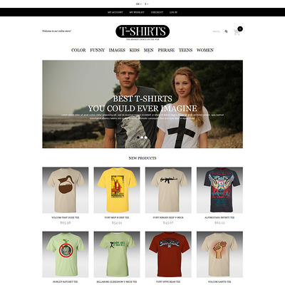 T-shirt Shop Responsive Magento Theme (Magento theme for mens and womens clothing) Item Picture