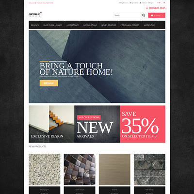 Tiles Stone Magento Theme (Magento theme for flooring stores) Item Picture