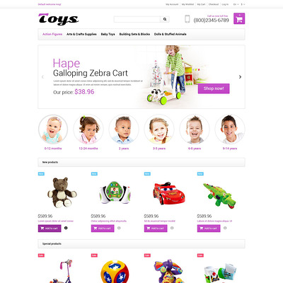 Toy Store Responsive Magento Theme (Magento theme for kids, babies, and children) Item Picture