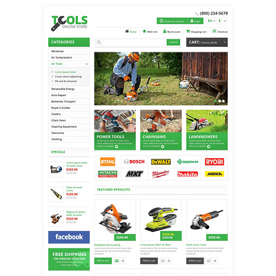 Responsive Tools Store OpenCart Template (OpenCart theme for selling tools) Item Picture