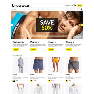 Trendy Underwear for Men OpenCart Template (OpenCart theme for selling lingerie and underwear) Item Picture