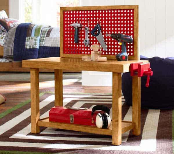 Kids tool bench from pottery barn for Pottery barn bench plans