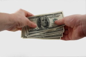 Transfer of money from hands in hands
