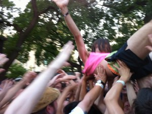 Crowd surfing at Pitchfork '10