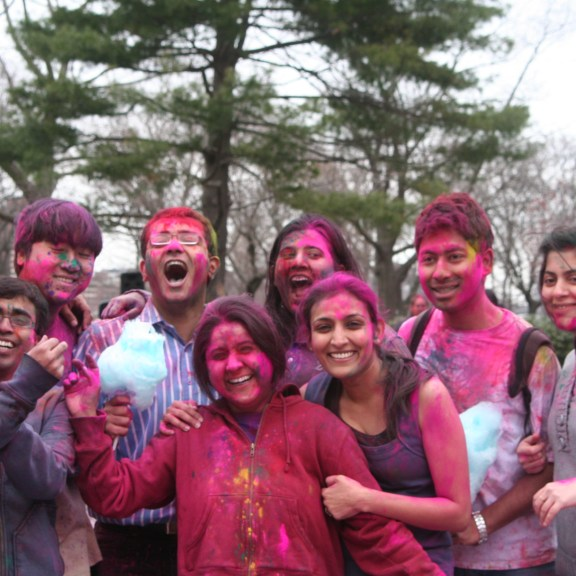 BU students celebrate Holi, the Hindu Festival of Colors   Photo by Heather Vandenengel