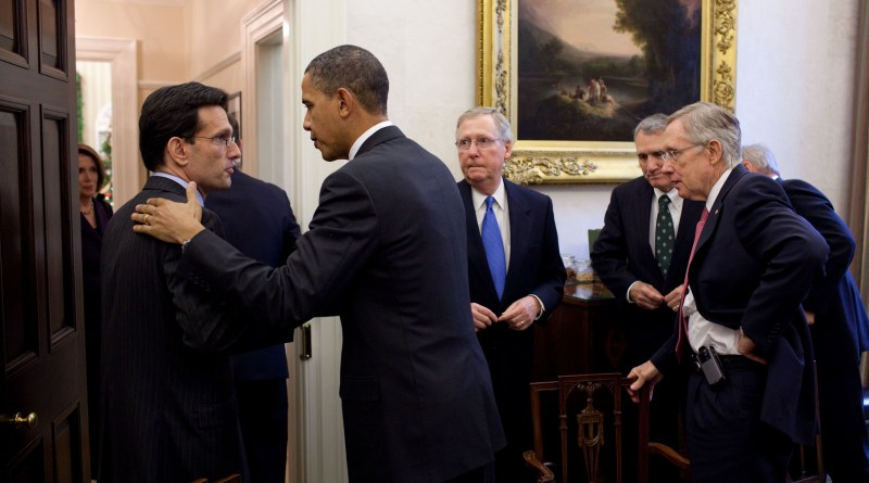 Eric Cantor and Barack Obama shake hands
