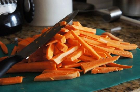 Sliced sweet potatoes.