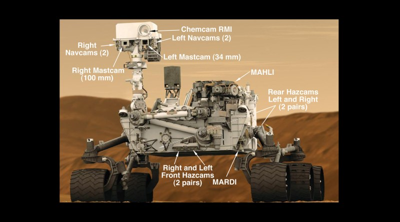 The rover Curiosity carries a full suite of scientific instruments. | Image courtesy NASA/JPL-Caltech