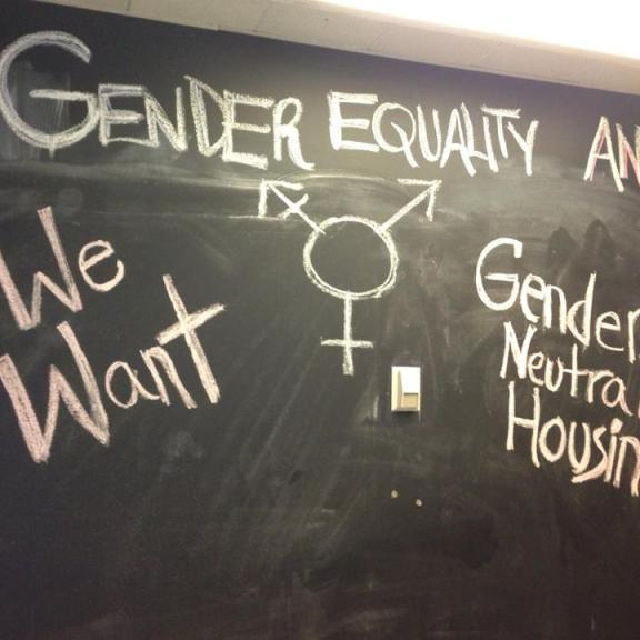The board outside the Center for Gender, Sexuality & Activism where students organized Monday evening. | Photo by Ingrid Adamow