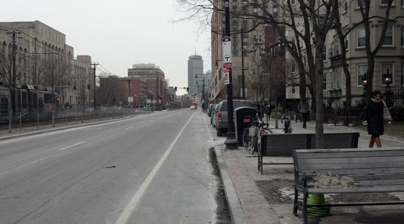 """Com. Ave. is an example of what the Climate Action Plan calls a """"complete street,"""" which is a street that put pedestrians, bicyclists and cars on equal footing with wide sidewalks, bike lanes and smaller car lanes."""