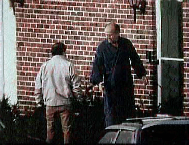 "FBI surveillance photograph of the former Winter Hill Gang leadership. Mob boss James J. ""Whitey"" Bulger (right) is with lieutenant Stephen Flemmi (left). 