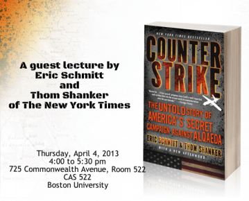 Promotional poster for guest lecture by Eric Schmitt and Thom Shanker | Photo courtesy of BU Center for International Relations