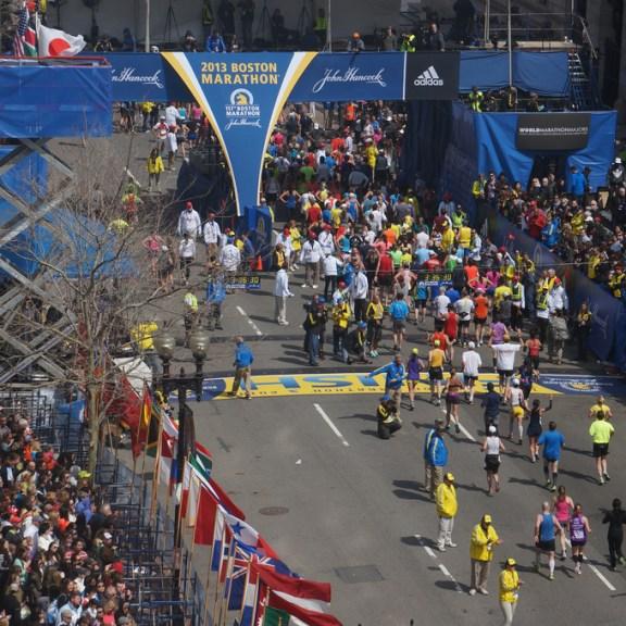The finish line of the 117th Boston Marathon.   Photo courtesy Flickr Commons via user hahatango