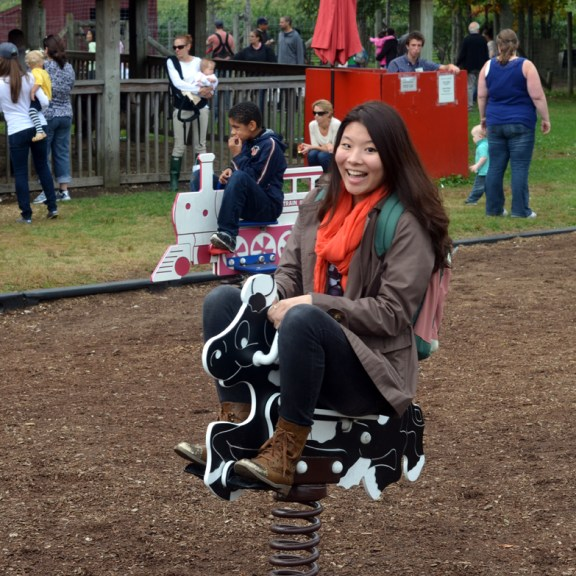 Senior Jiyoung Won (COM) embraces her inner equestrian in the Children's Play Area!