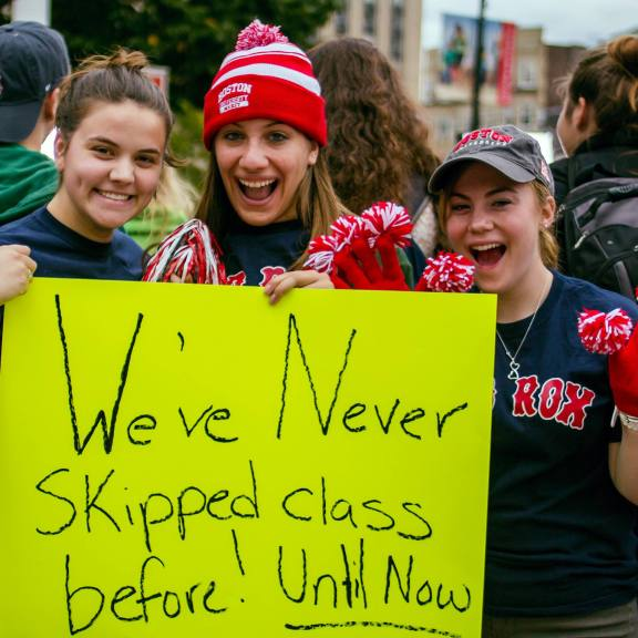 HOBU captures every day moments, and sometimes the more exciting ones, like when the Ellen Degeneres Show filmed on Marsh Plaza.   Photo courtesy of the Humans of Boston University Facebook page