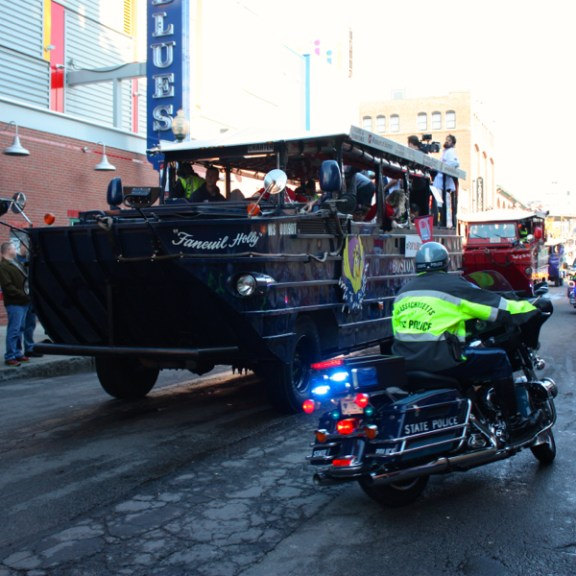 The Red Sox Duck Boats arrived back at Fenway Park a few hours after the parade started
