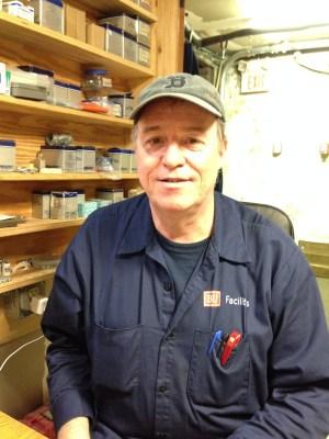 Robbie, a BU electrician.   Photo by Cecilia Weddell