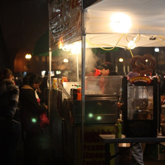 Even though it was a balmy 50 degrees on Thursday evening, dozens lined up for warm treats