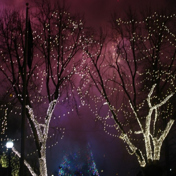 As the smoke rose, the colorful lights of the Boston Common tree could be seen