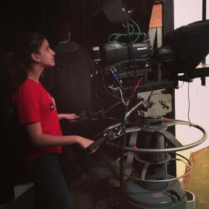 Working the camera| Courtesy of Stephanie Semet--Former Bay State PR Coordinator