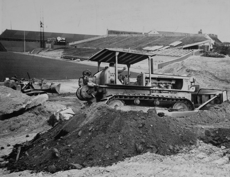 After BU bought Braves Field, they tore down everything except a single grandstand which remains to this day. | Image number 05_02_010762 from Boston Public Library's Sports Temples Collection.