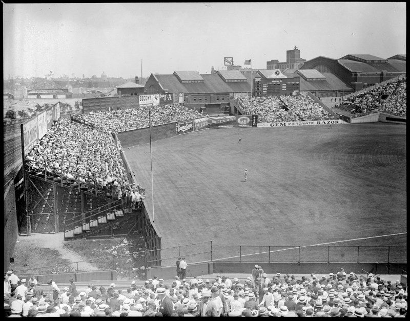 Tens of thousands of fans packed the stands on game day. | Courtesy of the Boston Public Library, Leslie Jones Collection.