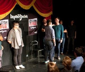 Actors mid-performance at ImprovBoston.   Photo courtesy of ImprovBoston on Flickr
