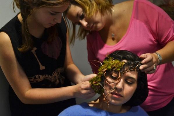 Witch Abi Oshins (SED '15) gets her mask adjusted | Photo by Alene Bouranova