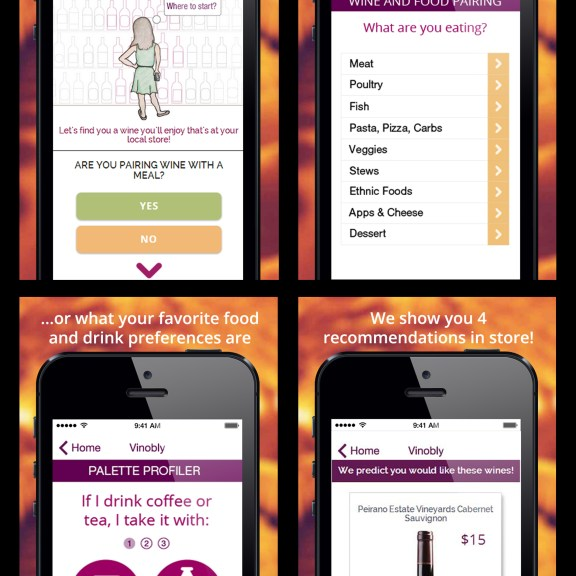 Vinobly uses a simple questionnaire to get users started (left to right, top to bottom). | Photo courtesy of Vinobly