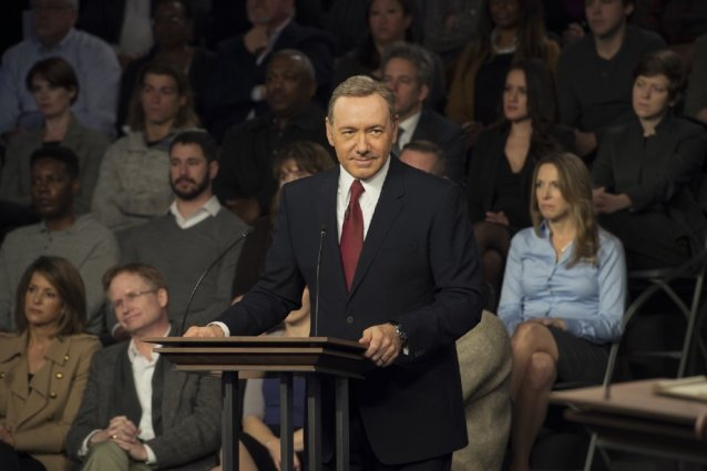 Kevin Spacey as Frank Underwood on the campaign trail. Photo courtesy of Netflix.
