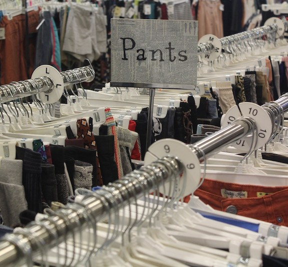 "The pants section at Buffalo Exchange provide an opportunity to browse a ""wide variety of styles and brands on one rack as opposed to having to travel to multiple stores,"" Frederickson says."
