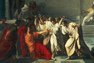 Men of the Roman Empire—including Cassius, Casca and Metellus Cimber—stabbed to death Roman Emperor Caesar Augustus.