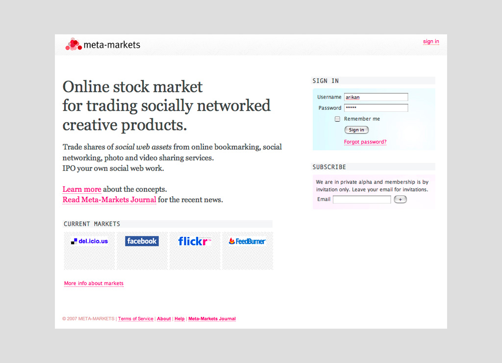 Meta-Markets index page, 2007