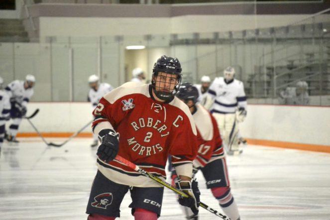 RMU captain Alex Bontje skates in warmups. -- ALAN SAUNDERS