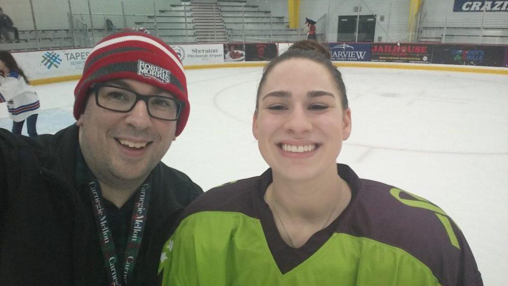 PHD's Matt Popchock with RMU Women's Hockey's Emily Curlett