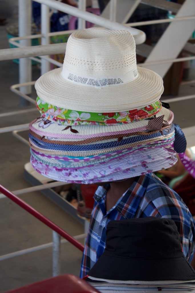 Hats are also for sale on the ferry.