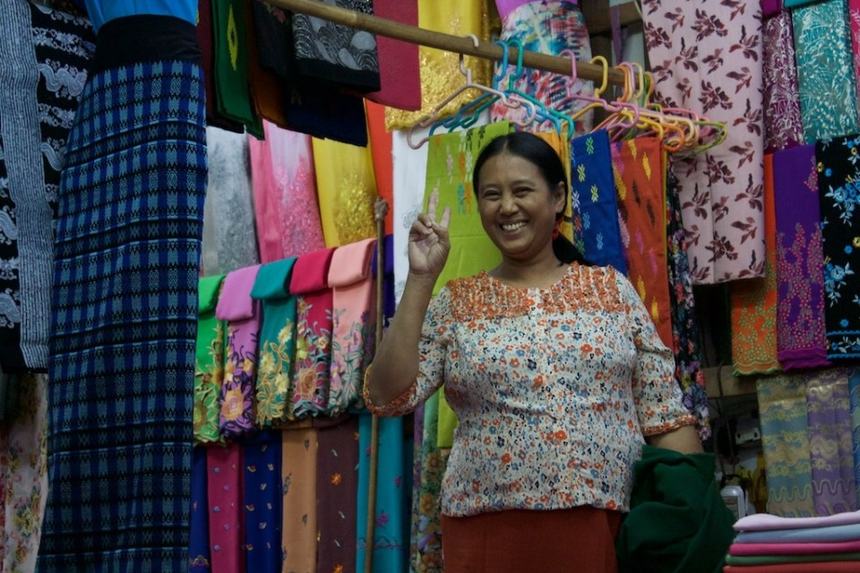 A fabric shop at the big market near our house.
