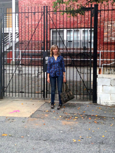 Dowda outside of the gated community of studios at the Atlanta Contemporary Art Center, September 2013, photo by Sherri Caudell.