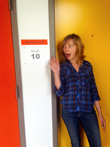 Dowda standing near the door to her new studio at the Atlanta Contemporary Art Center, September 2013, photo by Sherri Caudell.