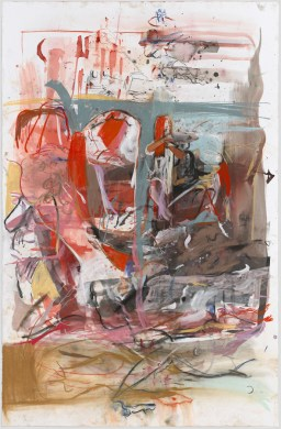 Cecily Brown, Combing the Hair (Beach), 2015.; watercolor, pastel, ink, and oil on paper; 79 by 51.5 inches.